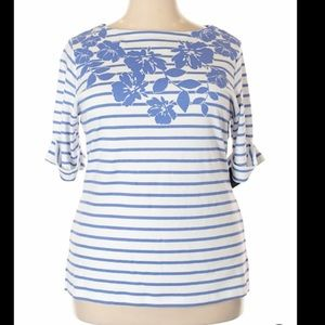 Karen Scott blue striped top size 1x